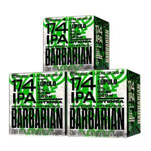 3 Fourpacks Barbarian 174 IPA Lata (269ml)