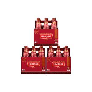 3 Sixpacks Cusqueña Roja Botella (310ml)