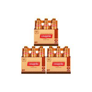 3 Sixpacks Cusqueña Dorada Botella (310ml)
