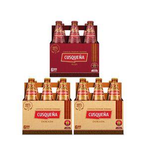 2 Sixpacks Cusqueña Dorada Botella (310ml) + Sixpack Cusqueña Roja Botella (310ml)