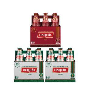 2 Sixpacks Cusqueña Trigo Botella (310ml) + Sixpack Cusqueña Roja Botella (310ml)