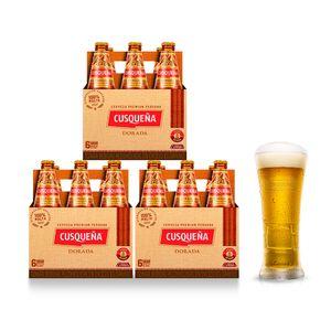 3 Sixpacks Cusqueña Dorada Botella (310ml) + Kero Cusqueña