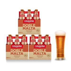 3 Sixpacks Cusqueña Doble Malta Botella (310ml) + Kero Cusqueña