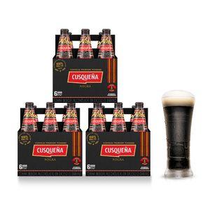 3 Sixpacks Cusqueña Negra Botella (310ml) + Kero Cusqueña