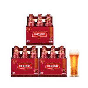 3 Sixpacks Cusqueña Roja Botella (310ml) + Kero Cusqueña